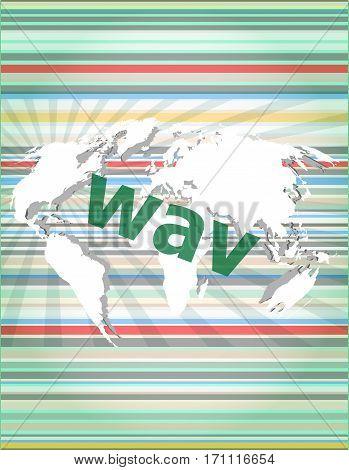 Digital Concept: Wav Word On Digital Screen. Concept Of Citation, Info, Testimonials, Notice, Textbo