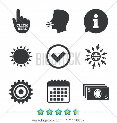 ATM cash machine withdrawal icons. Click here, check PIN number, processing and cash withdrawal symbols. Information, go to web and calendar icons. Sun and loud speak symbol. Vector