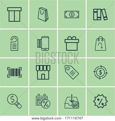 Set Of 16 E-Commerce Icons. Includes Rebate Sign, Buck, Shop And Other Symbols. Beautiful Design Elements.