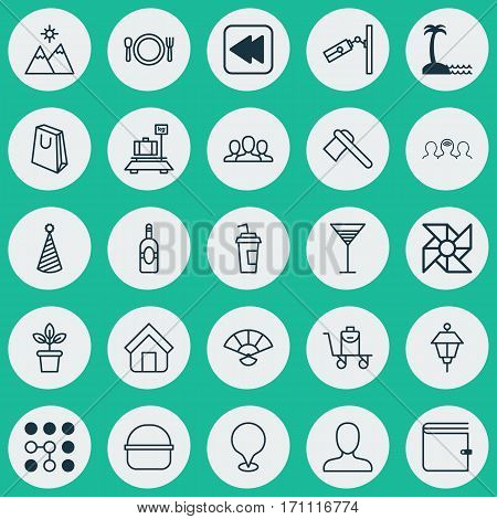 Set Of 25 Universal Editable Icons. Can Be Used For Web, Mobile And App Design. Includes Elements Such As Coaching, Landscape, Package.