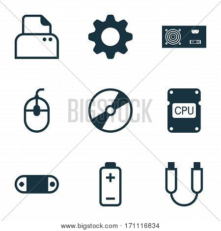 Set Of 9 Computer Hardware Icons. Includes Portable Memory, Battery, Control Device And Other Symbols. Beautiful Design Elements.