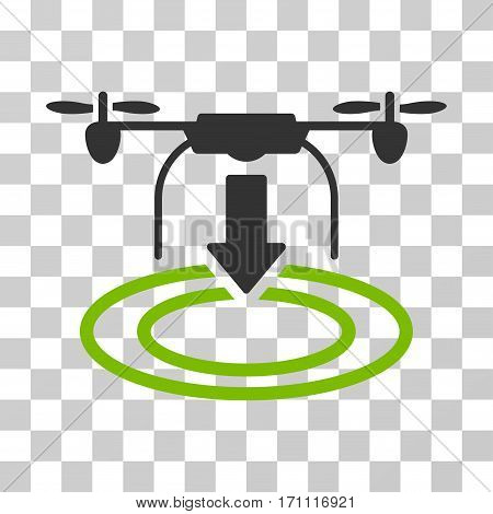 Drone Landing icon. Vector illustration style is flat iconic bicolor symbol eco green and gray colors transparent background. Designed for web and software interfaces.