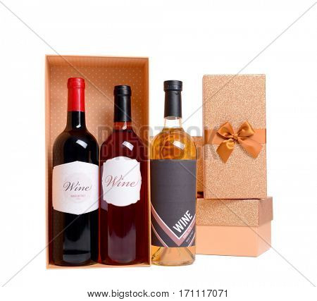 St. Valentines Day concept. Wine bottles and gift boxes isolated on white