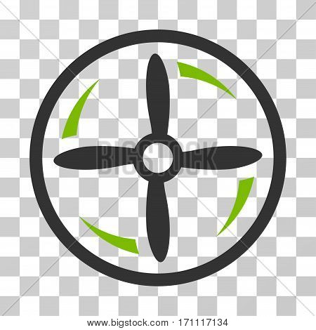 Drone Screw Rotation icon. Vector illustration style is flat iconic bicolor symbol eco green and gray colors transparent background. Designed for web and software interfaces.