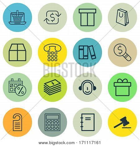 Set Of 16 Commerce Icons. Includes Employee, Calculator, Present And Other Symbols. Beautiful Design Elements.