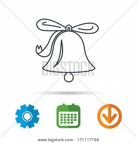 Ringing jingle bell icon. Sound sign. Alarm handbell symbol. Calendar, cogwheel and download arrow signs. Colored flat web icons. Vector