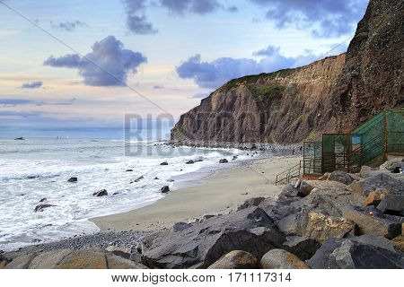 Small beach in Dana Point next to the Harbor in Southern California USA