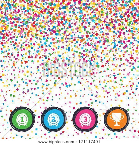 Web buttons on background of confetti. First, second and third place icons. Award medals sign symbols. Prize cup for winner. Bright stylish design. Vector