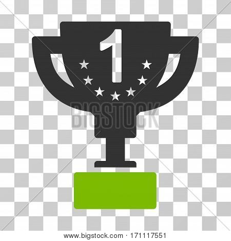 First Prize Cup icon. Vector illustration style is flat iconic bicolor symbol eco green and gray colors transparent background. Designed for web and software interfaces.