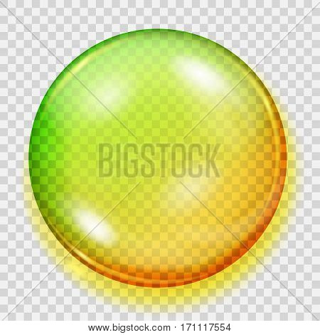 Transparent Yellow And Green Sphere With Shadow
