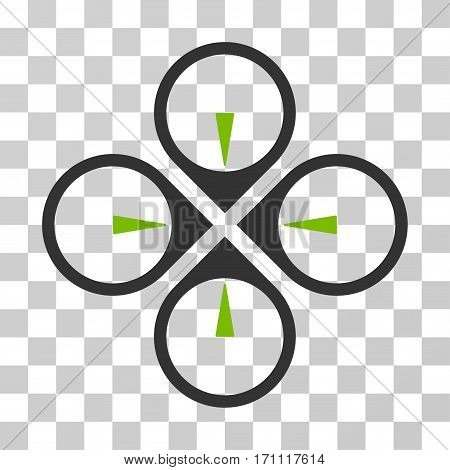Fly Drone icon. Vector illustration style is flat iconic bicolor symbol eco green and gray colors transparent background. Designed for web and software interfaces.