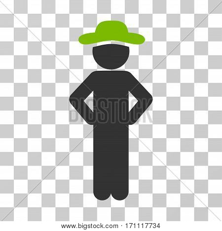Gentleman Akimbo icon. Vector illustration style is flat iconic bicolor symbol eco green and gray colors transparent background. Designed for web and software interfaces.