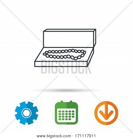 Jewellery box icon. Luxury precious sign. Calendar, cogwheel and download arrow signs. Colored flat web icons. Vector