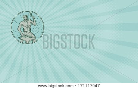 Business card showing Mono line style illustration of a blacksmith worker holding hammer hammering striking at anvil viewed from front set inside circle on sunburst background.