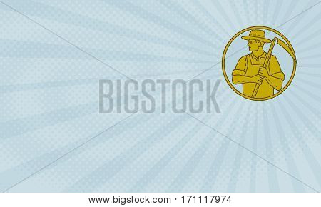 Business card showing Mono line style illustration of an organic farmer farm worker holding scythe looking to the side set inside circle on sunburst background.