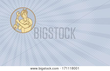 Business card showing Mono line style illustration of a female riveter rolling sleeve holding spanner looking to the side set viewed from front inside circle .