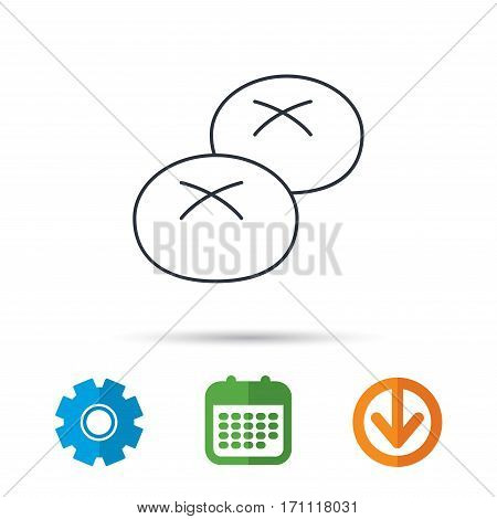 Bread rolls or buns icon. Natural food sign. Bakery symbol. Calendar, cogwheel and download arrow signs. Colored flat web icons. Vector
