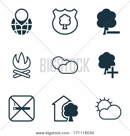 Set Of 9 Eco Icons. Includes Delete Woods, Pin Earth, Clear Climate And Other Symbols. Beautiful Design Elements.