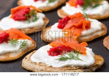Russian Buckwheat Pancakes Blini With Cream And Caviar