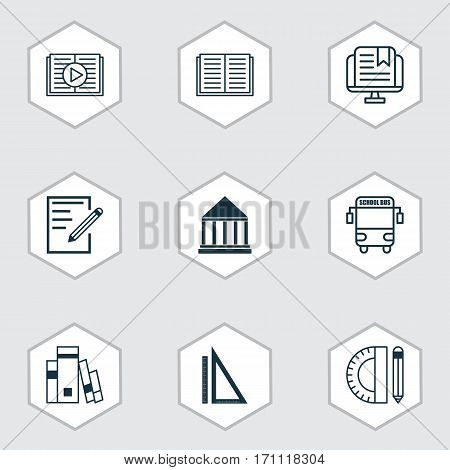 Set Of 9 Education Icons. Includes E-Study, Taped Book, Transport Vehicle And Other Symbols. Beautiful Design Elements.