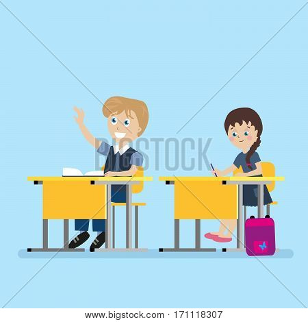 Schoolchild sits at a school desk during lessons. A boy with his hand raised. The learning process in the school. Flat character isolated on white background. Vector, illustration EPS10