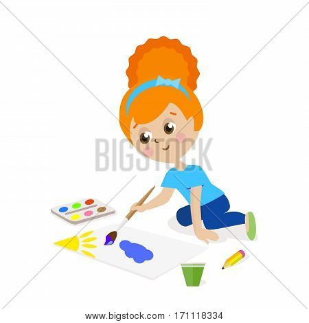 Girl sitting on the floor and draw a picture paints. The child is engaged in creativity. Gouache and watercolor. Flat character isolated on white background. Vector, illustration EPS10