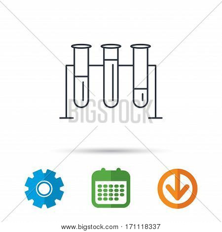 Laboratory bulbs icon. Chemistry analysis sign. Science or pharmaceutical symbol. Calendar, cogwheel and download arrow signs. Colored flat web icons. Vector