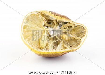 Moldy Lemon On White Background