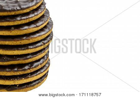 Pile chocolate covered sweet digestive biscuits, isolated