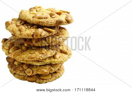 Crunchy sweet biscuits with roasted peanuts isolated