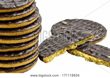 Pile chocolate covered digestive sweet biscuits, isolated