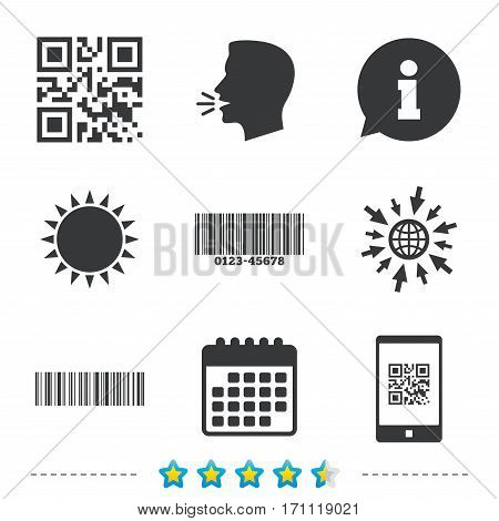 Bar and Qr code icons. Scan barcode in smartphone symbols. Information, go to web and calendar icons. Sun and loud speak symbol. Vector