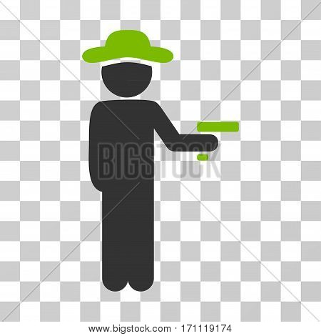 Gentleman Robber icon. Vector illustration style is flat iconic bicolor symbol eco green and gray colors transparent background. Designed for web and software interfaces.