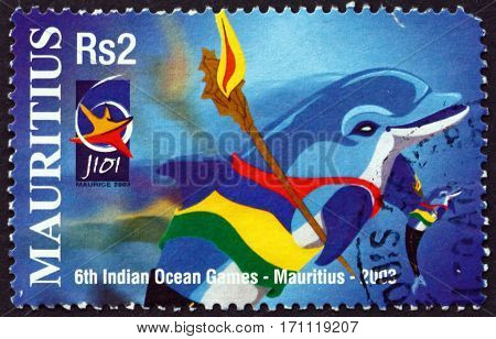 MAURITIUS - CIRCA 2003: a stamp printed in Mauritius dedicated to Sixth Indian ocean games Mauritius circa 2003