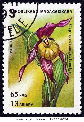 MALAGASY - CIRCA 1993: a stamp printed in Malagasy Madagascar shows Lady's-slipper orchid cypripedium calceolus orchid circa 1993