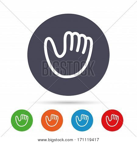 Baseball glove or mitt sign icon. Sport symbol. Round colourful buttons with flat icons. Vector