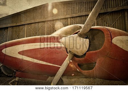 Old monoplane aircraft with use of antique photo effect
