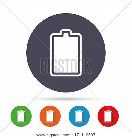 Battery fully charged sign icon. Electricity symbol. Round colourful buttons with flat icons. Vector