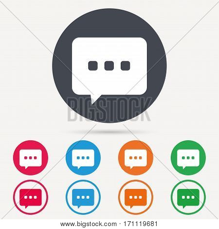 Chat icon. Speech bubble symbol. Round circle buttons. Colored flat web icons. Vector
