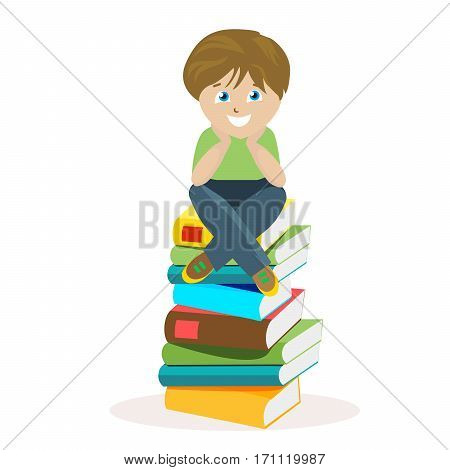 Boy sitting on a big pile of books. Vector illustration of a schoolboy in a flat style, isolated on white background. Vector, EPS10