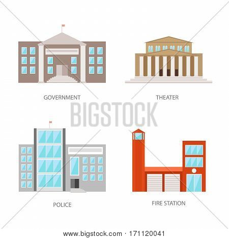 Set of urban buildings in a flat style. Government building, theater, police and fire station. Vector, illustration isolated on white background EPS10