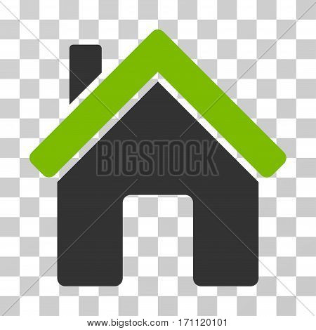 House icon. Vector illustration style is flat iconic bicolor symbol eco green and gray colors transparent background. Designed for web and software interfaces.