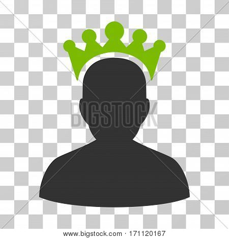 King icon. Vector illustration style is flat iconic bicolor symbol eco green and gray colors transparent background. Designed for web and software interfaces.