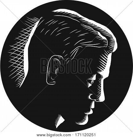 Illustration of a pensive man engage in deep thought viewed from side set inside circle on isolated background done in retro woodcut style.