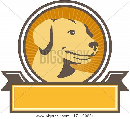 Illustration of a yellow labrador golden retriever dog head looking to the side viewed from front set inside circle with sunburst in the background done in retro style.