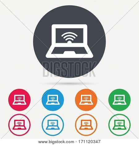 Computer with wifi icon. Notebook or laptop pc symbol. Round circle buttons. Colored flat web icons. Vector
