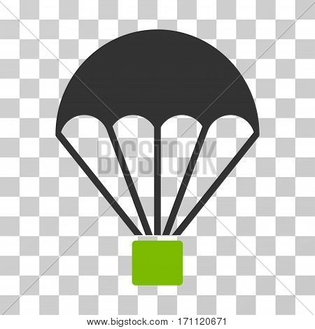 Parachute icon. Vector illustration style is flat iconic bicolor symbol eco green and gray colors transparent background. Designed for web and software interfaces.