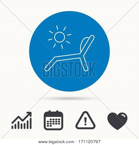 Deck chair icon. Beach chaise longue sign. Calendar, attention sign and growth chart. Button with web icon. Vector