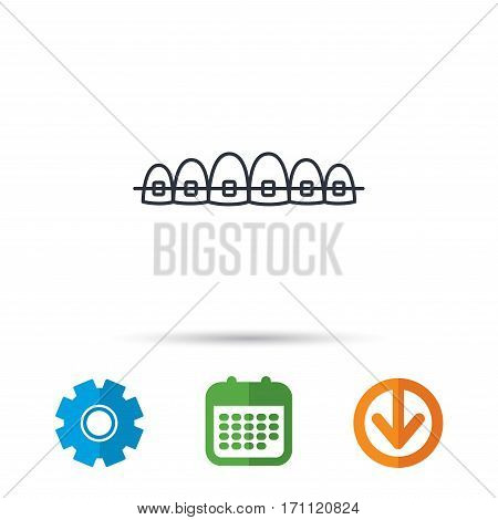 Dental braces icon. Teeth healthcare sign. Orthodontic symbol. Calendar, cogwheel and download arrow signs. Colored flat web icons. Vector