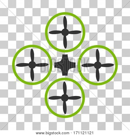 Quadcopter icon. Vector illustration style is flat iconic bicolor symbol eco green and gray colors transparent background. Designed for web and software interfaces.